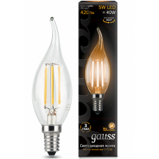 Gauss Лампа LED Filament Candle tailed E14 5W 2700K 1/10/50