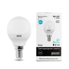 Gauss Лампа LED Elementary Globe 8W E14 4100K 1/10/50
