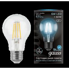 Gauss Лампа LED Filament A60 E27 6W 4100К 1/10/40