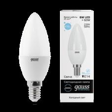 Gauss Лампа LED Elementary Candle 6W E14 6500K 1/10/100