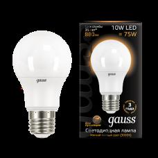 Gauss Лампа LED A60 10W E27 3000K 1/10/50