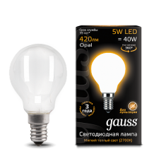 Gauss Лампа LED Filament Globe Opal E14 5W 2700K 1/10/50