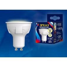 Uniel Яркая Лампа LED 6W GU10/FR 3000К форма «JCDR», матовая.теплый белый свет