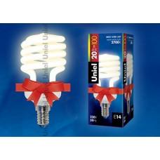 Uniel Лампа энергосберегающая спираль 20Вт, E14, тепло-белая