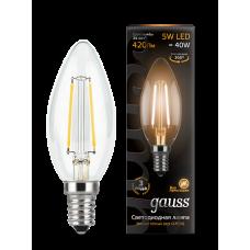 Gauss Лампа LED Filament Candle E14 5W 2700К 1/10/50