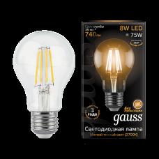Gauss Лампа LED Filament A60 E27 8W 2700К 1/10/40
