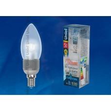 Uniel Лампа LED свеча Е14 5W нейтрал. бел. мат. DIM пластик