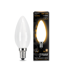 Gauss Лампа LED Filament Candle Opal E14 5W 2700К 1/10/50