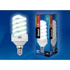 Uniel Лампа энергосберегающая спиральная 15Вт, E14, ярко-белая