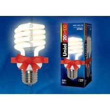 Uniel Лампа энергосберегающая спираль 20Вт, E27, тепло-белая