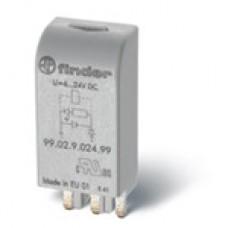 Finder Модули индикации и защиты, Зеленый Светодиод + диод (стандартная полярность), 6-24VDC