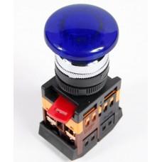IEK Кнопка AELA22 Грибок синий d22мм неон/240В 1з+1р