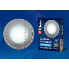 Uniel Светильник LED встраиваемый круг 0,5W 4500K 12V IP67 нерж. cталь cеребро