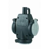 ABL Тройник резина+полиамид, с самозакрывающейся крышкой и лампочкой-индикатор напряжения IP54, 16A, 2P+E, 250V с/ч