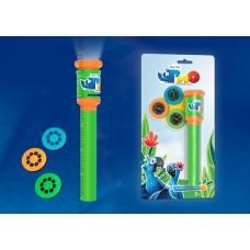 Uniel RIO Фонарик карманный пластмассовый с мини проектором, 1 светодиод, 3 слайда (входят в комплект), зеленый,блистер