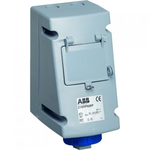 ABB RP Розетка для монтажа на поверхность с Din рейкой на 4 модуля 232RP6WP, 32A, 2P+E, IP67, 6ч