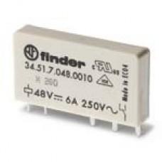 Finder Ультратонкие реле для печатного монтажа, контакты AgNi, 1CO 6A