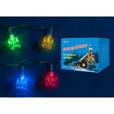 Uniel Гирлянда светодиодная «Кубики» с контроллером, 20 светодиодов, 2,8 м, разноцветная, IP20, провод прозрачный.