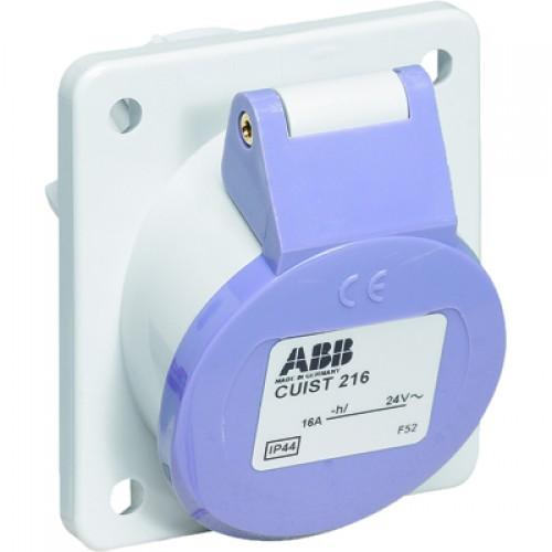 ABB CUIT Розетка панельная с прямым фланцем CUIT216, 16А, 2P, 20-25В, AC, IP44