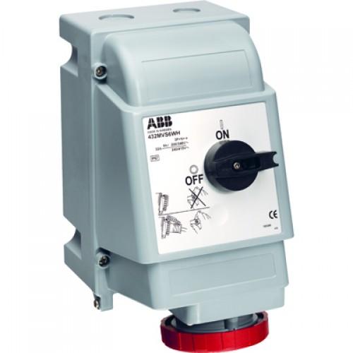 ABB MVS Розетка для тяжелых условий с выключателем и механической блокировкой 332MVS6WH, 32A, 3P+E, IP67, 6ч