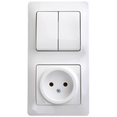 SE Glossa Бел Блок: розетка и 2-кл. выключатель