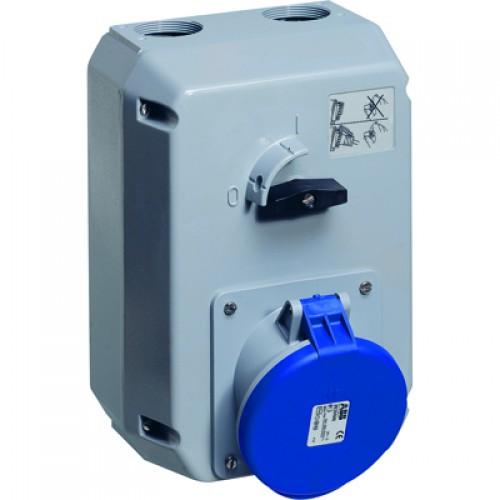 ABB MM Розетка металл. с выключателем и механической блокировкой 363MM9, 63A, 3P+E, IP44, 9ч