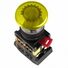IEK Кнопка AELA22 Грибок желтый d22мм неон/240В 1з+1р