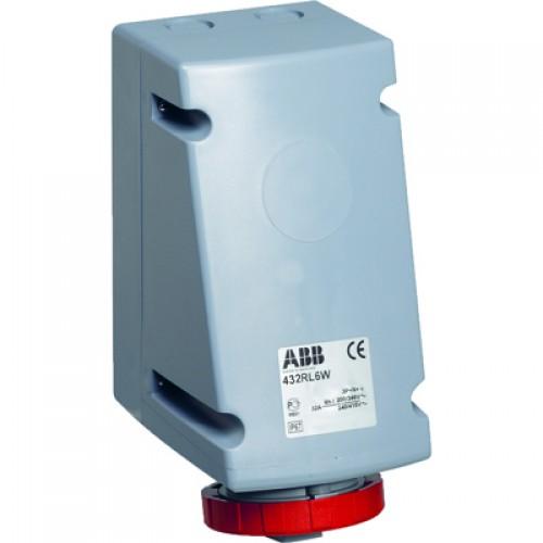 ABB RL Розетка для монтажа на поверхность с подключением шлейфа 332RL6W, 32A, 3P+E, IP67, 6ч