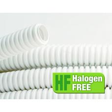 DKC Труба ПЛЛ гибкая гофрированная не содержит галогенов д.40мм, ПВ-0, с протяжкой,20м, цвет белый