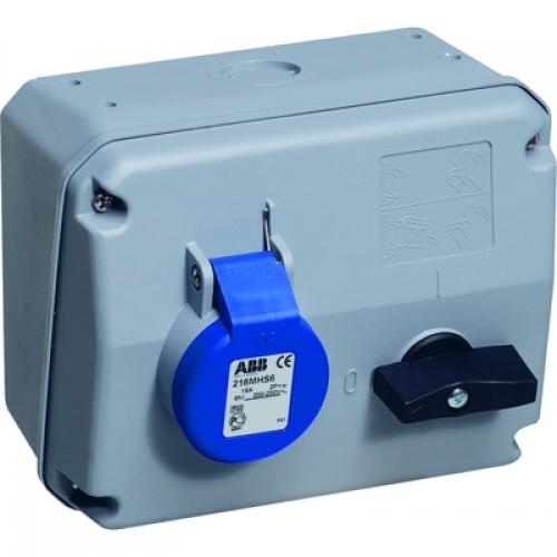 ABB MHS Розетка с выключателем и механической блокировкой 232MHS6, 32A, 2P+E, IP44, 6ч
