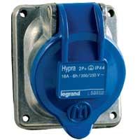 Legrand Hypra Встраиваемая розетка IP 44 2К+З 32 А металл