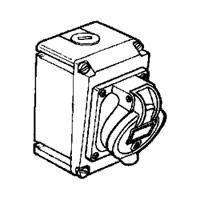 Legrand Hypra Накладная розетка в готовом корпусе с одним отверстием под сальник IP 44 2К+З 63 А пластик