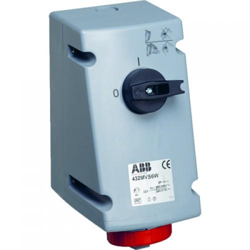ABB Розетка с выключателем и механической блокировкой 232MVS6W, 32A, 2P+E, IP67, 6ч
