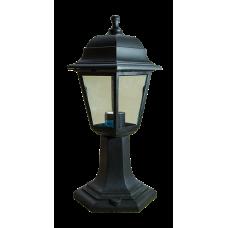 Italmac Светильник садово-парковый четырехгранный на стойке 60вт, Е27, черный, IP44, прозрачное стекло, корпус - полипропилен,  габариты 400*180 мм