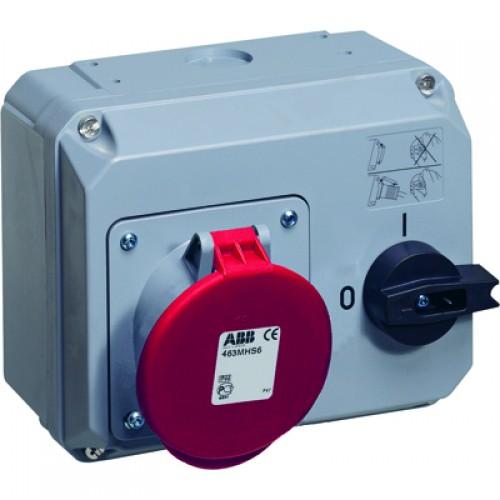 ABB MHS Розетка с выключателем и механической блокировкой 363MHS6, 63A, 3P+E, IP44, 6ч