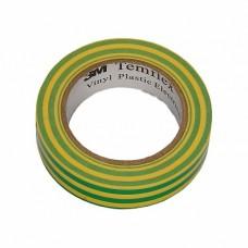 3M Temflex 1300 Изоляционная лента универсальная 15мм х 10м, желто-зеленая