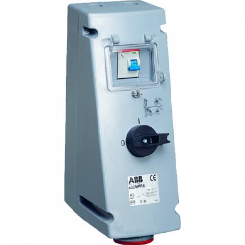 ABB MPR Розетка с рубильником, механической блокировкой и УЗО 416MPR6, 16A, 3P+N+E, IP44, 6ч
