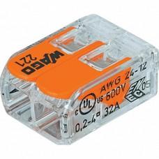 WAGO Клемма с рычагами компактная для 2-х медных(!) одно-/многопровол. проводников сеч. до 4 мм кв.
