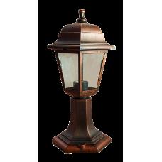 Italmac Светильник садово-парковый четырехгранный на стойке 60вт, Е27, медь, IP44 прозрачное стекло, корпус - полипропилен,  габариты 400*180 мм
