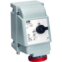ABB MVS Розетка для тяжелых условий с выключателем и механической блокировкой 416MVS6WH, 16A, 3P+N+E, IP67, 6ч