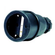 Duewi Черный Розетка кабельная 2Р+Е, 16А, 250V, резина IP44