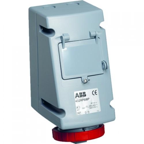ABB RP Розетка для монтажа на поверхность с Din рейкой на 4 модуля 432RP6WP, 32A, 3P+N+E, IP67, 6ч