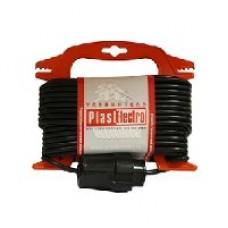 """PE Удлинитель на рамке """"Compact""""10м, ПВС 2х0,75 мм2, черный"""