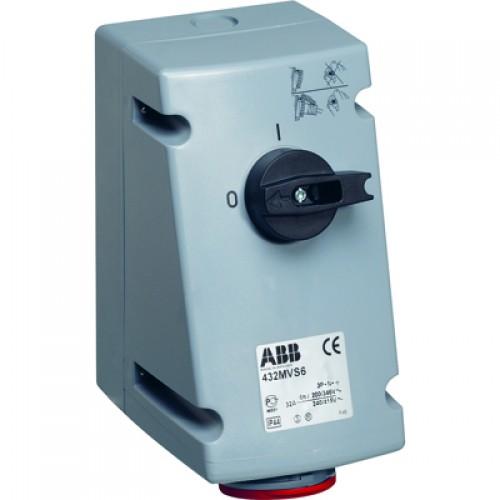 ABB MVS Розетка с выключателем и механической блокировкой 432MVS6, 32A, 3P+N+E, IP44, 6ч