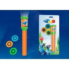 Uniel RIO Фонарик карманный пластмассовый с мини проектором, 1 светодиод, 3 слайда (входят в комплект),оранжевый, блистер
