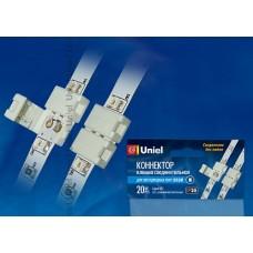 Uniel Клемма соединительная для светодиодных лент 3528, 2 контакта, IP20, цвет белый, (упак=20шт)
