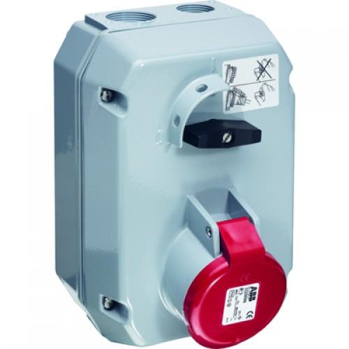 ABB MM Розетка металл. с выключателем и механической блокировкой 332MM3, 32A, 3P+E, IP44, 3ч