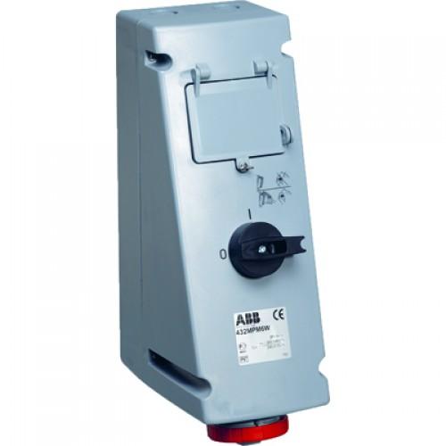ABB MP Розетка с рубильником, механической блокировкой и Din рейкой на 4 модуля 432MP7WP, 32A, 3P+N+E, IP67, 7ч