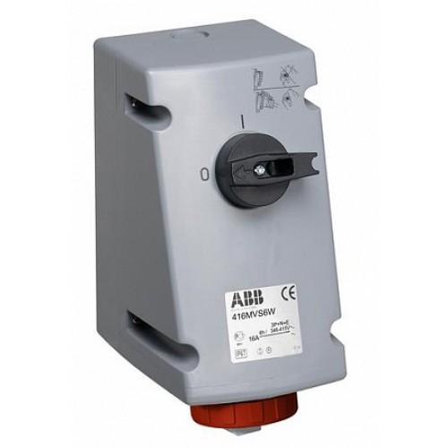 ABB CEWE Розетка на поверхность c выключателем и блокировкой 16A, 3P+N+E, IP67