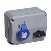 ABB CEWE Розетка с выключателем и механической блокировкой 216MHS6, 16A, 2P+E, IP44, 6ч